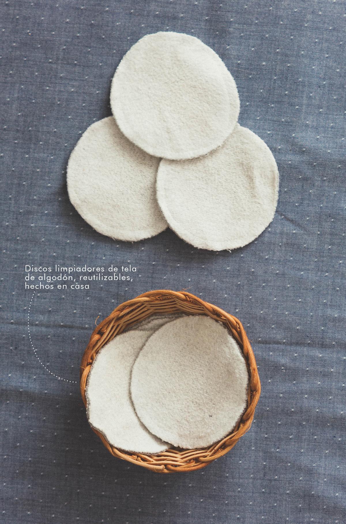 Discos desmaquillantes reutilizables de tela de algodón