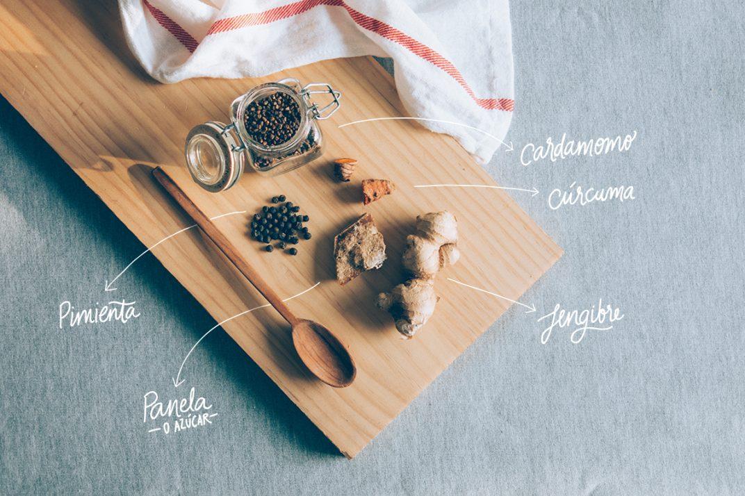 ingredientes: cardamomo, cúrcuma, jengibre, pimienta y panela
