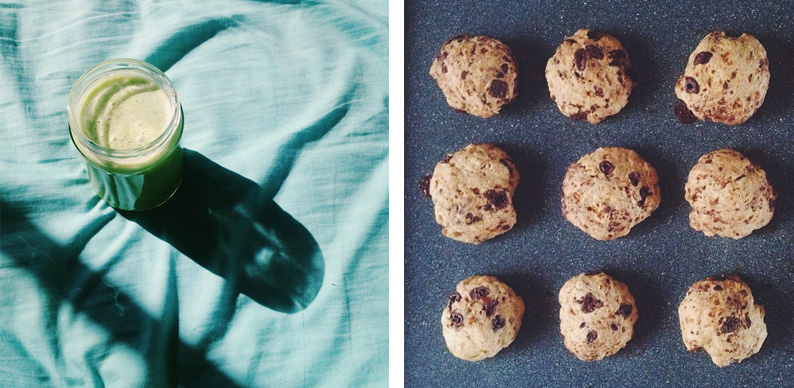 batido y galletas veganas de chips de chocolate