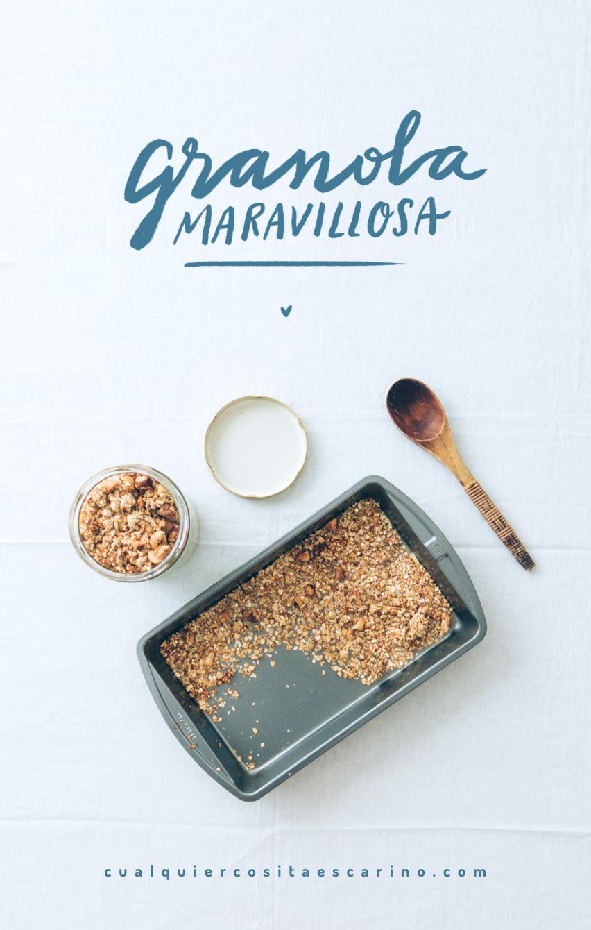 Granola maravillosa: crocante, nutritiva, aromática y fácil de llevar a todos lados, para una merienda rica, sana y sin basura. animaldeisla.com